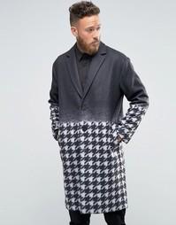 Пальто с градиентной отделкой и ломаной клеткой Rogues of London - Черный