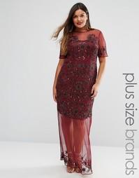 Полупрозрачное платье макси с отделкой Lovedrobe Luxe - Красный