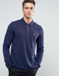 Темно-синяя футболка-поло с длинными рукавами и логотипом Lyle & Scott - Темно-синий