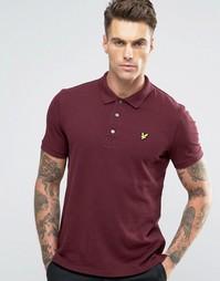Бордовое меланжевое поло из пике с логотипом Lyle & Scott - Красный