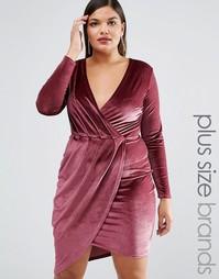 Вельветовое платье мини с запахом Club L Plus - Фиолетовый