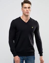 Черный хлопковый джемпер из мериносовой шерсти с V‑образным вырезом Lyle & Scott - Черный