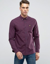 Темно-синяя рубашка слим в бордовую клетку на пуговицах Lyle & Scott - Красный