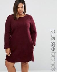 Цельнокройное платье из смешанной шерсти Elvi Plus - Красный