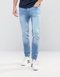 Светлые супероблегающие джинсы Burton Menswear - Синий
