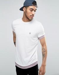 Удлиненная футболка с асимметричным краем и контрастными рукавами Le Breve - Розовый