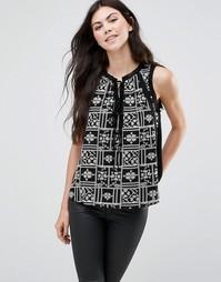 Блузка с принтом и завязкой спереди Greylin Lynna - Черный