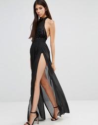 Полупрозрачное платье макси с высокой горловиной и пайетками на лифе NaaNaa - Черный