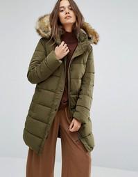 Длинная дутая куртка с искусственной меховой подкладкой на капюшоне Parka London Thelma - Зеленый