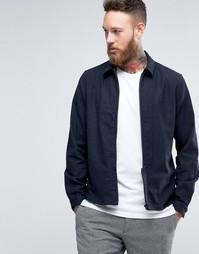 Куртка узкого кроя на молнии Hoxton Shirt Company - Темно-синий