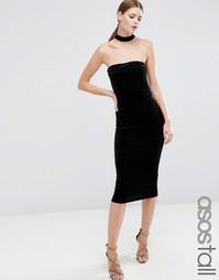 Бархатное платье‑футляр миди с горловиной‑чокер ASOS TALL - Черный