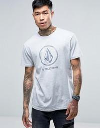 Серая меланжевая футболка с выцветшим крупным логотипом Volcom - Серый