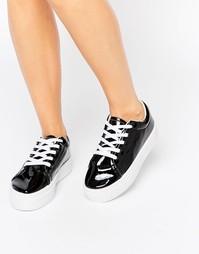 Кроссовки на плоской платформе со шнуровкой London Rebel - Черный