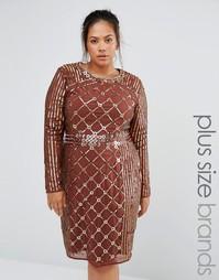 Цельнокройное платье с длинными рукавами Lovedrobe Luxe - Коричневый