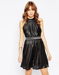 Короткое приталенное платье с пайетками Wyldr Backroom - Черный
