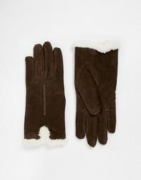 Замшевые перчатки с отделкой из шерпы на манжетах Totes - Коричневый