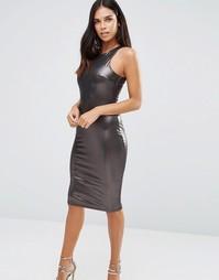 Платье миди с отделкой металлик AX Paris - Серебряный