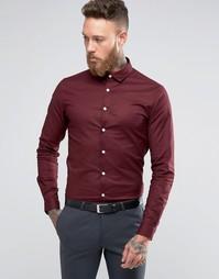 Бордовая оксфордская рубашка с длинными рукавами ASOS - Красный