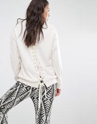 Флисовый свитшот с принтом и шнуровкой сзади Billabong - Белый