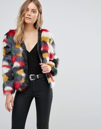 Разноцветная куртка из искусственного меха Jayley - Мульти
