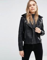 Байкерская куртка с воротником из искусственного меха Barneys Originals - Черный