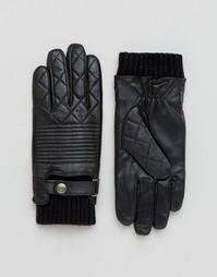 Стеганые кожаные перчатки Dents Lymington - Черный
