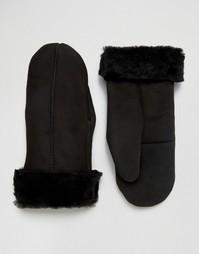 Черные замшевые варежки с овчиной Dents Inverness - Черный