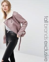 Куртка-авиатор с отделкой из искусственного меха Glamorous Tall - Розовый