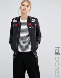 Куртка-пилот с нашивками Brave Soul Tall - Черный