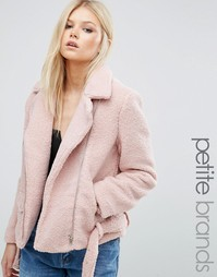 Байкерская куртка из цигейки эксклюзивно для Missguided Petite - Фиолетовый