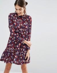 Платье с длинными рукавами и цветочным принтом Closet - Красный