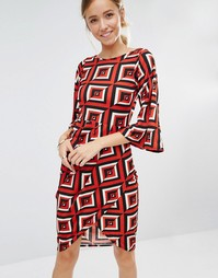 Платье с запахом и геометрическим принтом Closet - Красный