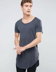 Длинная футболка с асимметричной кромкой United Colors of Benetton - Серый