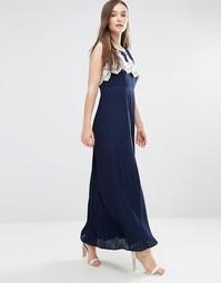 Платье макси с плиссированной юбкой и ажурным лифом Darling Melissa - Темно-синий