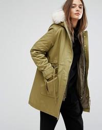Парка со съемной курткой-пилот внутри и меховой отделкой капюшона Parka London Kay - Зеленый