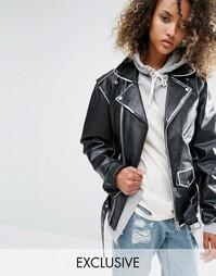 Кожаная байкерская куртка в стиле oversize с прокрашенными швами Milk It Vintage - Черный