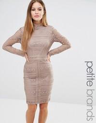 Кружевное платье с длинными рукавами и высокой горловиной Missguided Petite - Коричневый