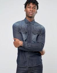 Джинсовая рубашка классического кроя в стиле вестерн Sisley - Синий