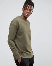 Свитшот с заниженной линией плеч Selected Homme - Зеленый