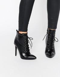 Ботильоны на каблуке со шнуровкой Public Desire Imogen - Черный