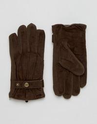 Коричневые замшевые перчатки Dents Chester - Коричневый