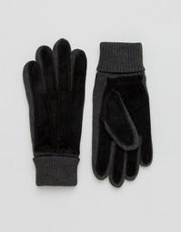 Черные замшевые перчатки Dents Kendal - Черный