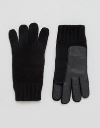 Черные перчатки из овечьей шерсти с кожаной нашивкой на ладонях Dents - Черный