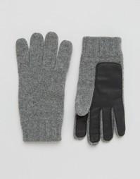 Серые перчатки из овечьей шерсти с кожаной нашивкой на ладонях Dents - Серый
