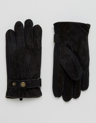 Черные замшевые перчатки Dents Chester - Черный
