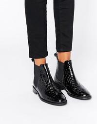 Лакированные ботинки челси с крокодиловым рисунком Office Amble - Черный