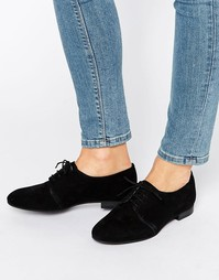 Замшевые туфли на плоской подошве со шнуровкой Office Farley - Черный