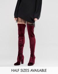 Бархатные сапоги‑ботфорты на каблуке ASOS KINGDOM - Красный