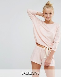 Мягкая пижама персикового цвета с шортами Chelsea Peers - Розовый