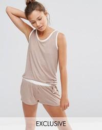 Пижама с майкой и шортами Chelsea Peers - Бежевый